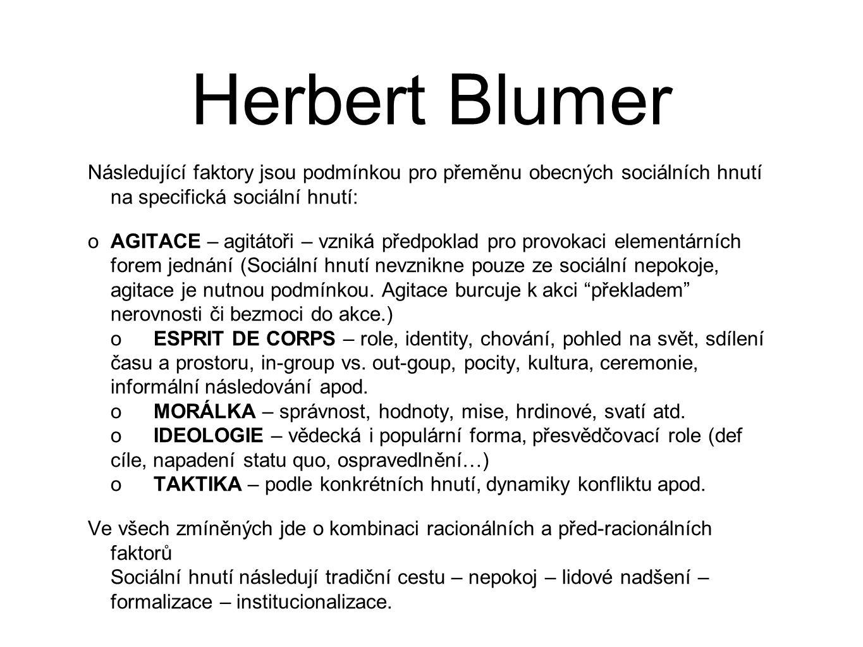 Herbert Blumer Následující faktory jsou podmínkou pro přeměnu obecných sociálních hnutí na specifická sociální hnutí: