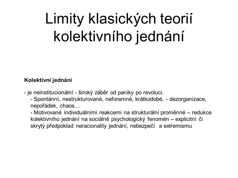 Limity klasických teorií kolektivního jednání