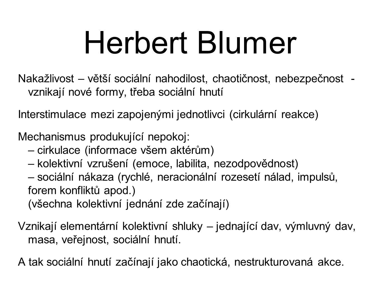 Herbert Blumer Nakažlivost – větší sociální nahodilost, chaotičnost, nebezpečnost - vznikají nové formy, třeba sociální hnutí.