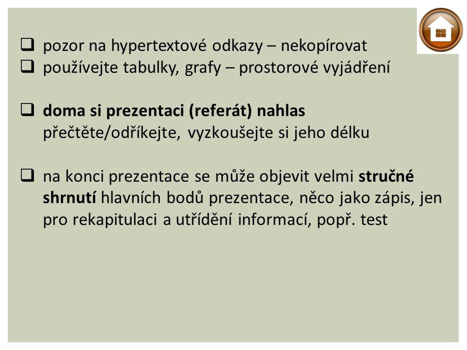 pozor na hypertextové odkazy – nekopírovat