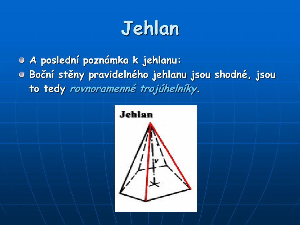 Jehlan A poslední poznámka k jehlanu: