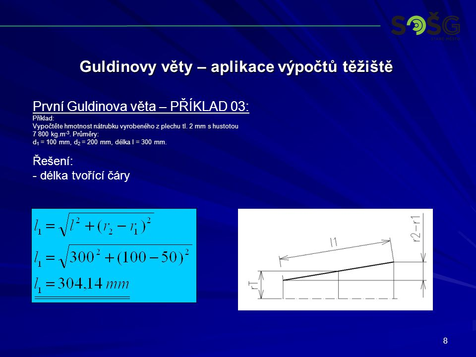 Guldinovy věty – aplikace výpočtů těžiště