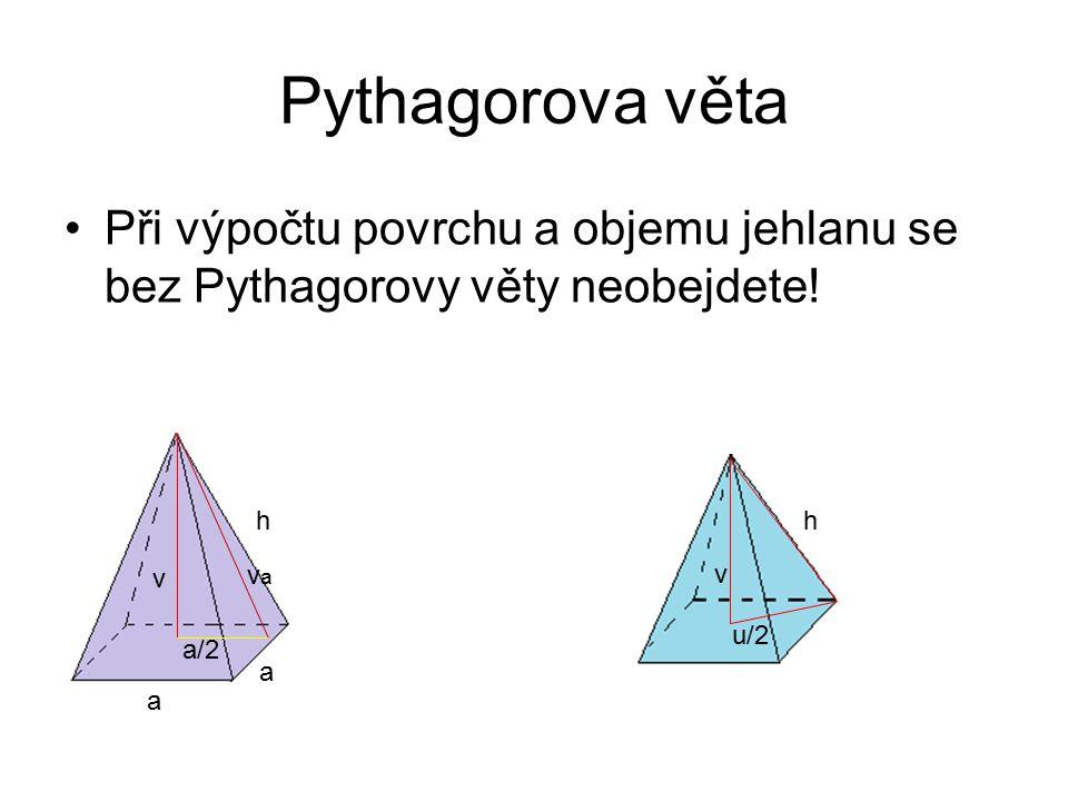 Pythagorova věta Při výpočtu povrchu a objemu jehlanu se bez Pythagorovy věty neobejdete! h. a. va.