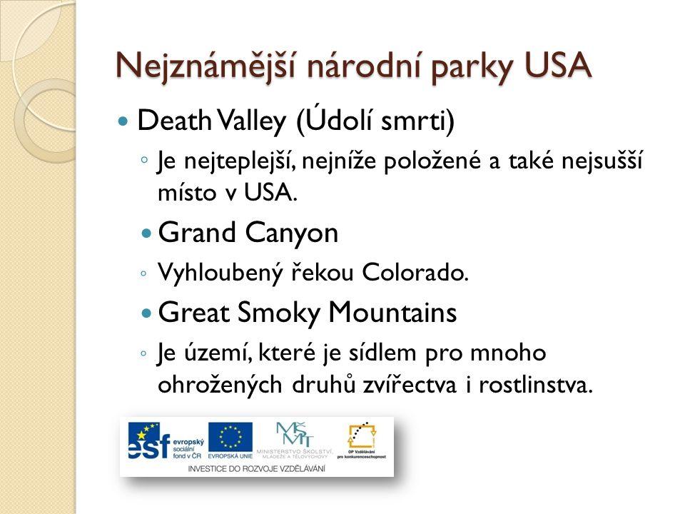Nejznámější národní parky USA