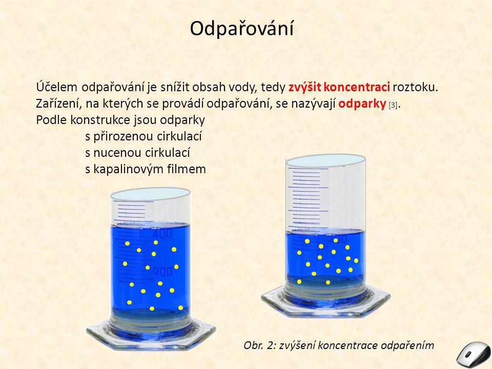 Odpařování Účelem odpařování je snížit obsah vody, tedy zvýšit koncentraci roztoku.