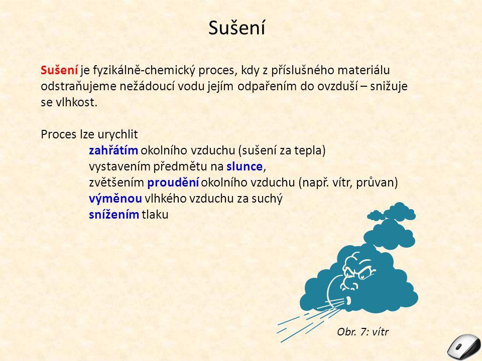 Sušení Sušení je fyzikálně-chemický proces, kdy z příslušného materiálu odstraňujeme nežádoucí vodu jejím odpařením do ovzduší – snižuje se vlhkost.