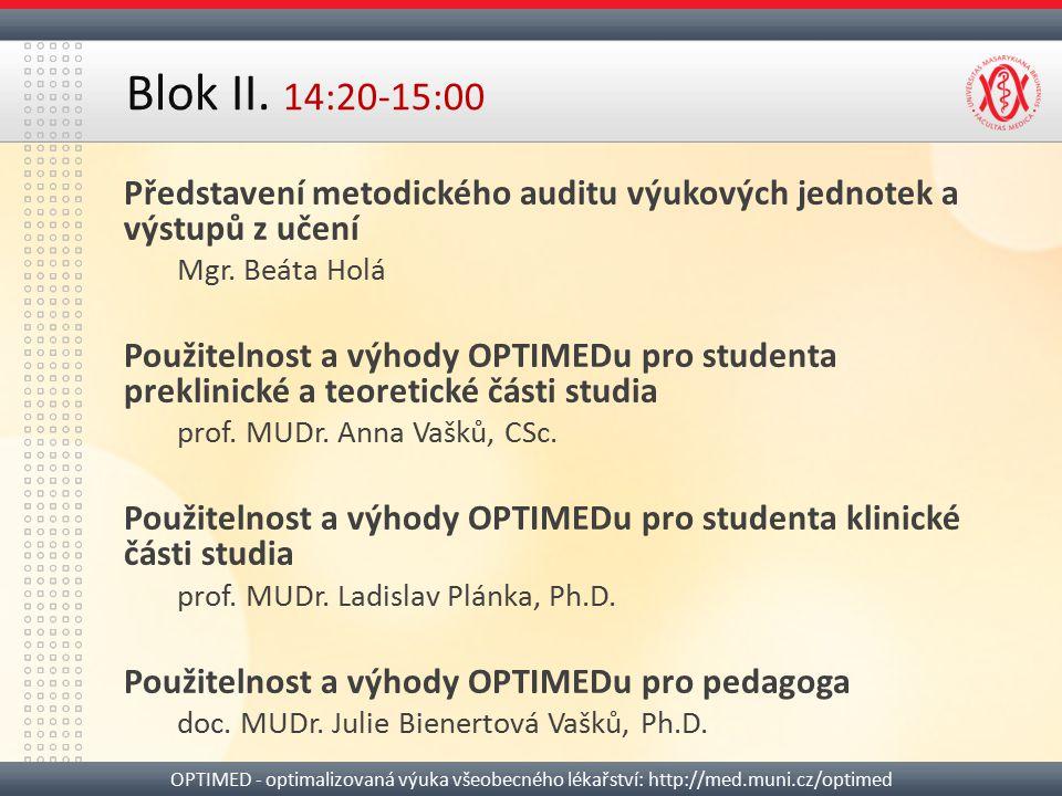 Blok II. 14:20-15:00 Představení metodického auditu výukových jednotek a výstupů z učení. Mgr. Beáta Holá.
