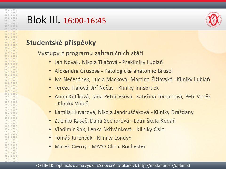 Blok III. 16:00-16:45 Studentské příspěvky