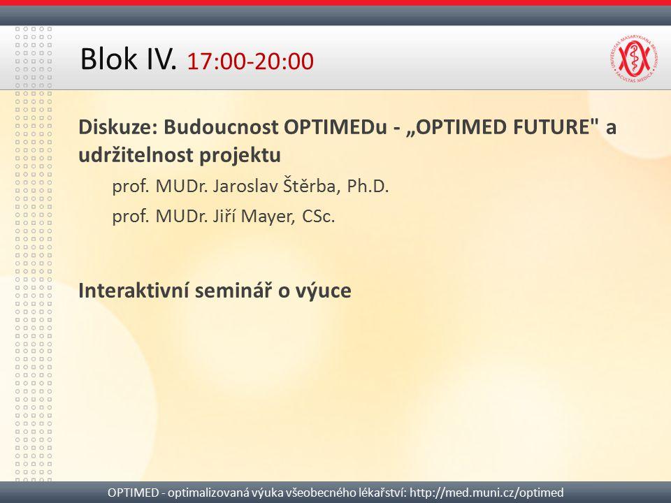 "Blok IV. 17:00-20:00 Diskuze: Budoucnost OPTIMEDu - ""OPTIMED FUTURE a udržitelnost projektu. prof. MUDr. Jaroslav Štěrba, Ph.D."
