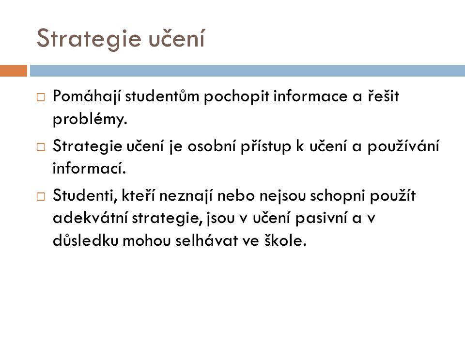 Strategie učení Pomáhají studentům pochopit informace a řešit problémy. Strategie učení je osobní přístup k učení a používání informací.