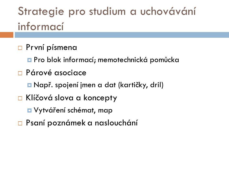 Strategie pro studium a uchovávání informací