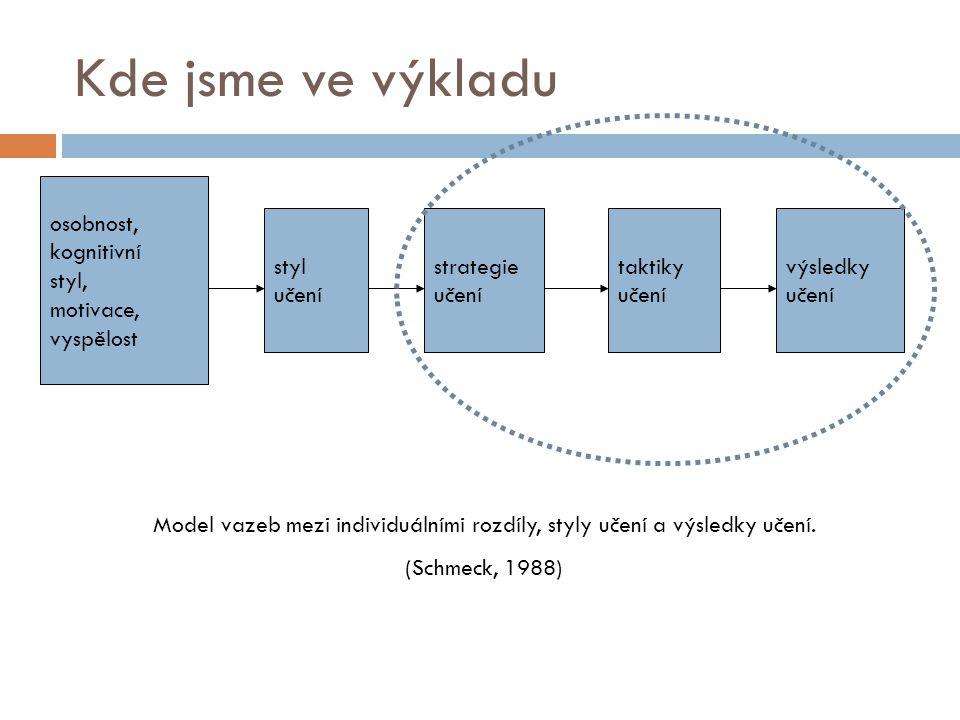 Model vazeb mezi individuálními rozdíly, styly učení a výsledky učení.