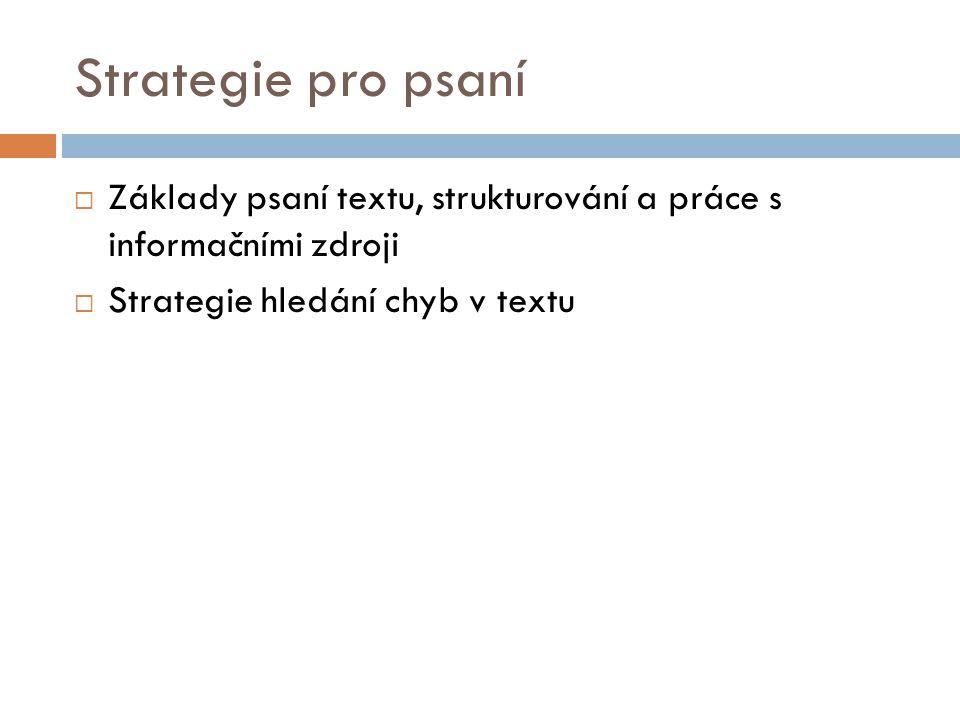 Strategie pro psaní Základy psaní textu, strukturování a práce s informačními zdroji.