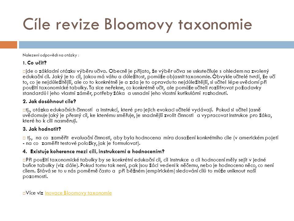 Cíle revize Bloomovy taxonomie