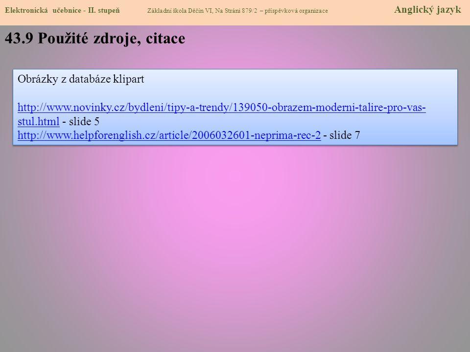 43.9 Použité zdroje, citace Obrázky z databáze klipart