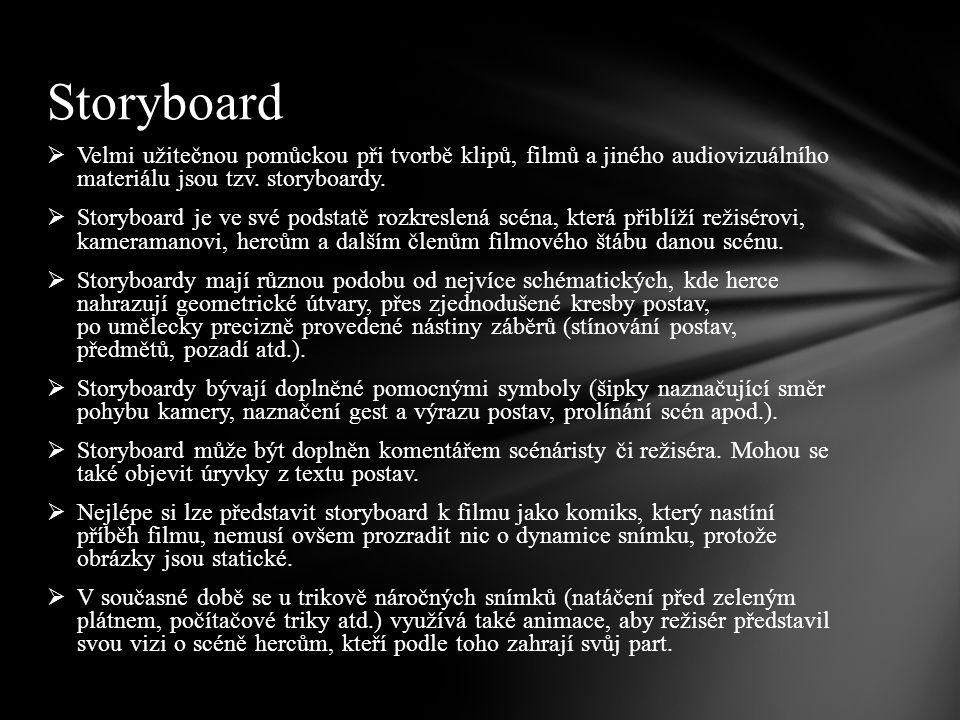 Storyboard Velmi užitečnou pomůckou při tvorbě klipů, filmů a jiného audiovizuálního materiálu jsou tzv. storyboardy.