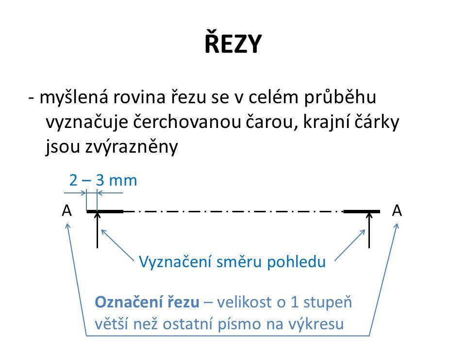 ŘEZY - myšlená rovina řezu se v celém průběhu vyznačuje čerchovanou čarou, krajní čárky jsou zvýrazněny.