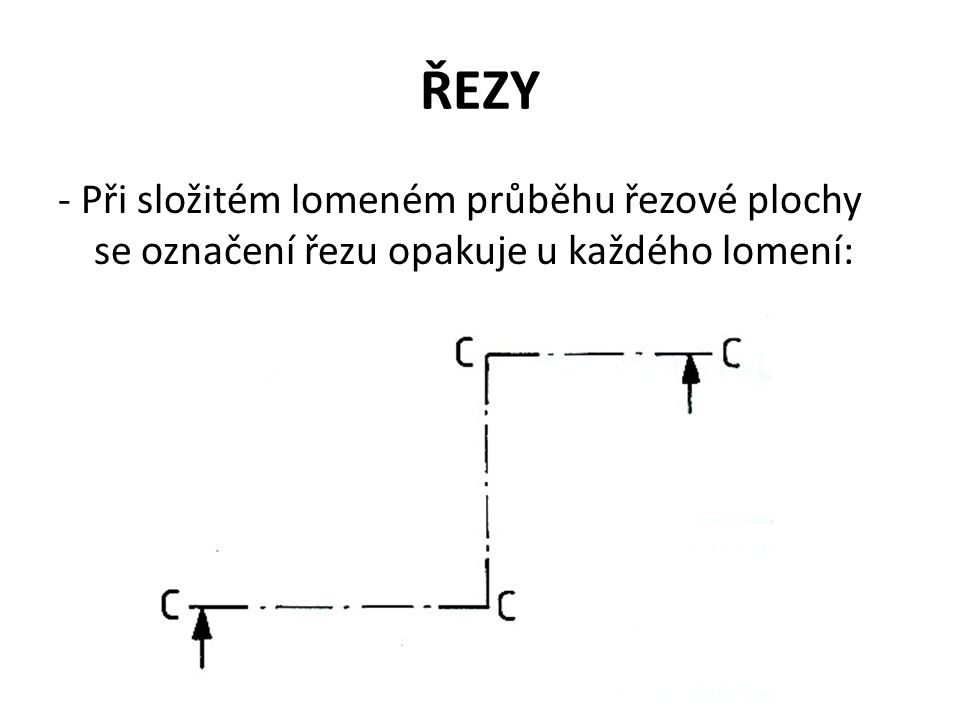 ŘEZY - Při složitém lomeném průběhu řezové plochy se označení řezu opakuje u každého lomení: