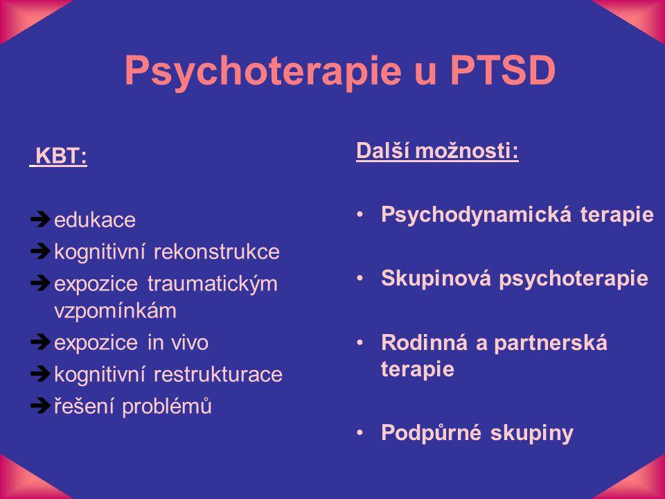 Psychoterapie u PTSD Další možnosti: KBT: Psychodynamická terapie