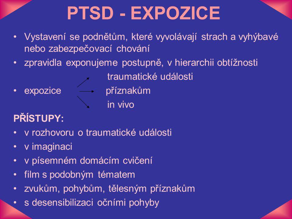 PTSD - EXPOZICE Vystavení se podnětům, které vyvolávají strach a vyhýbavé nebo zabezpečovací chování.