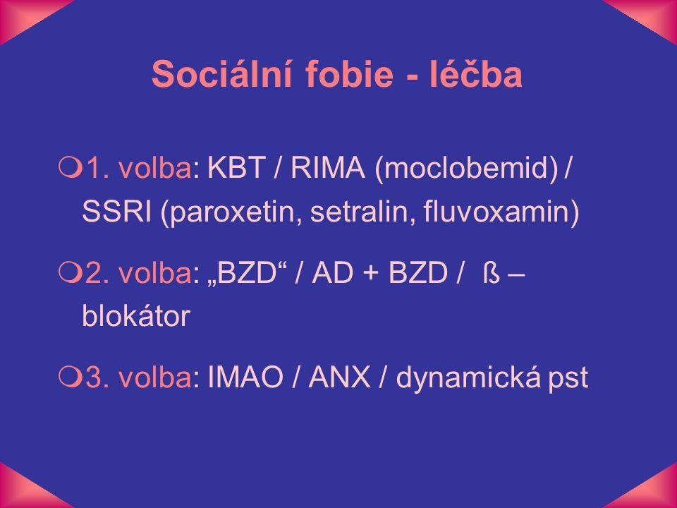"""Sociální fobie - léčba 1. volba: KBT / RIMA (moclobemid) / SSRI (paroxetin, setralin, fluvoxamin) 2. volba: """"BZD / AD + BZD / ß – blokátor."""