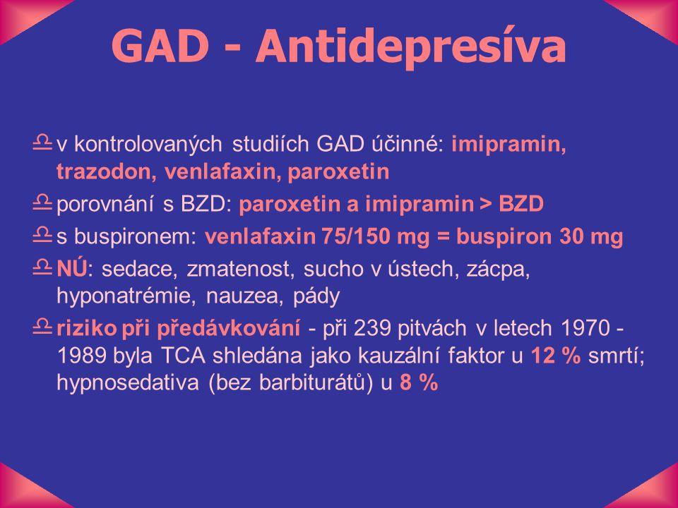 GAD - Antidepresíva v kontrolovaných studiích GAD účinné: imipramin, trazodon, venlafaxin, paroxetin.