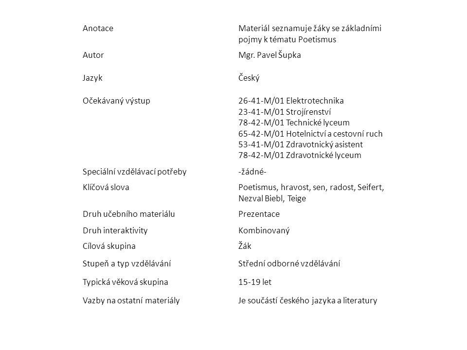 Anotace Materiál seznamuje žáky se základními pojmy k tématu Poetismus. Autor. Mgr. Pavel Šupka. Jazyk.