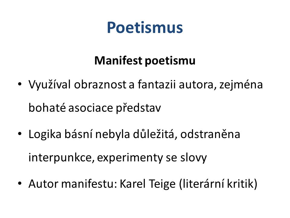 Poetismus Manifest poetismu