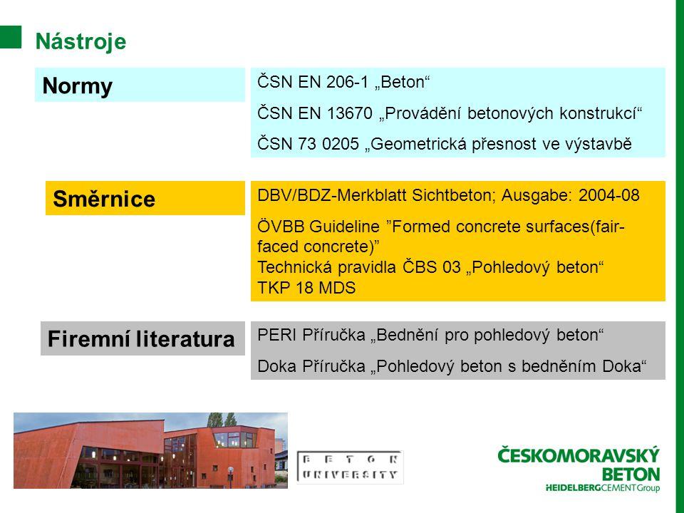 """Nástroje Normy Směrnice Firemní literatura ČSN EN 206-1 """"Beton"""