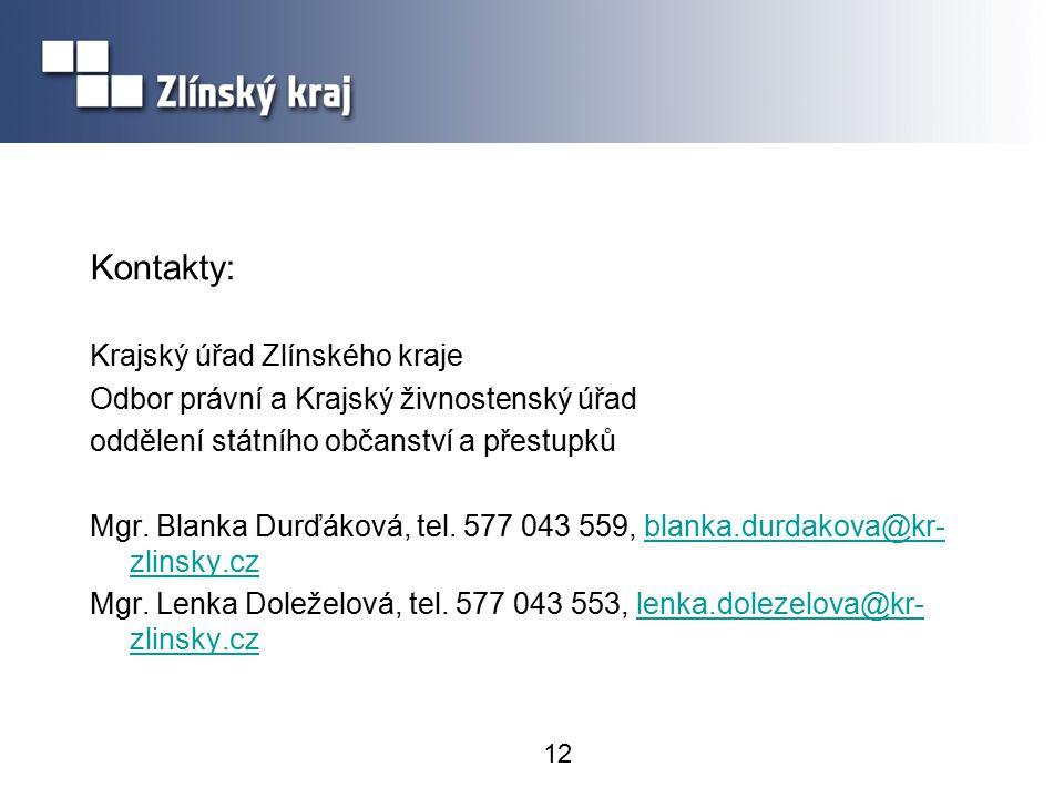 Kontakty: Krajský úřad Zlínského kraje