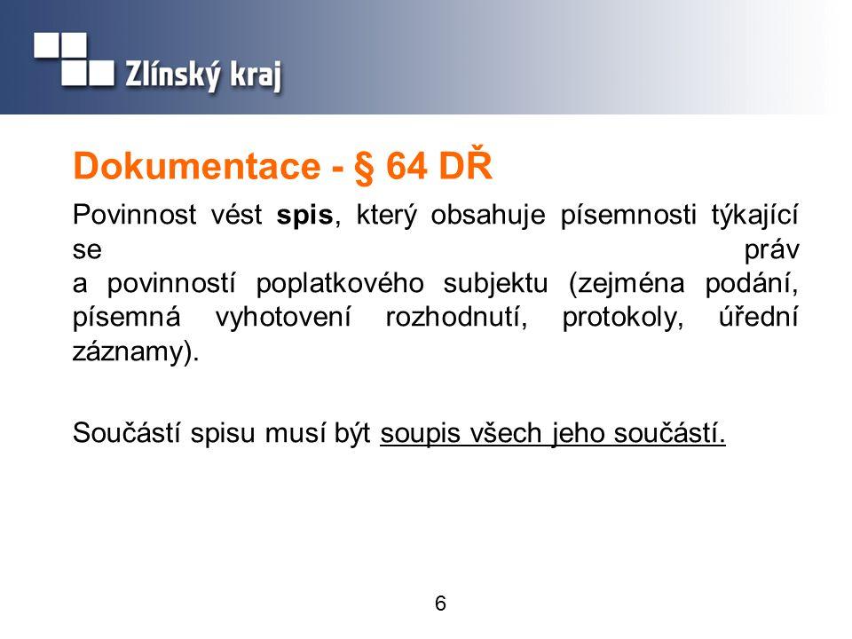 Dokumentace - § 64 DŘ