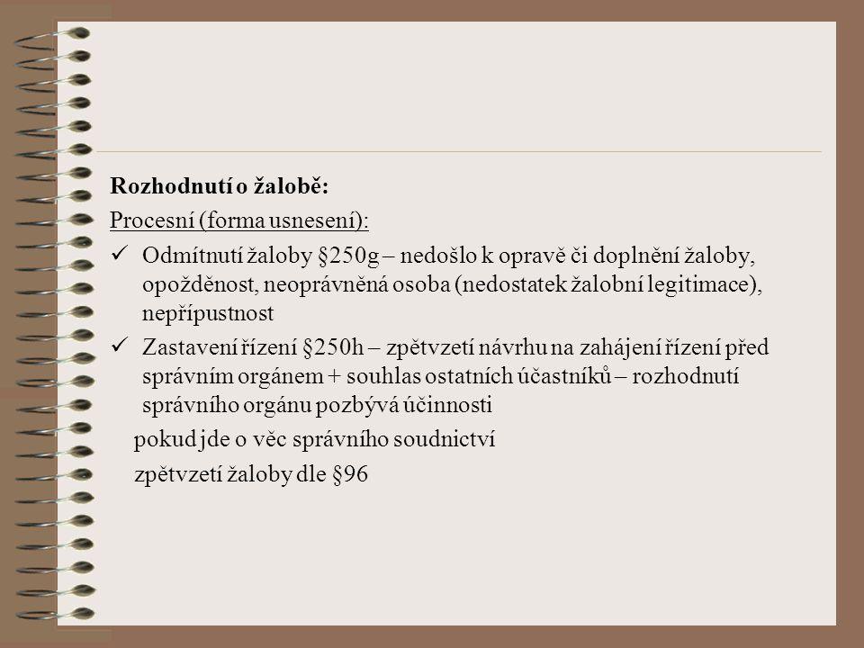 Rozhodnutí o žalobě: Procesní (forma usnesení):