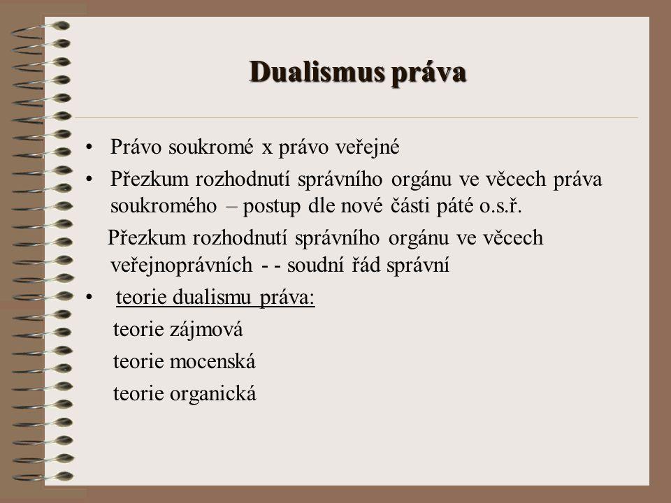 Dualismus práva Právo soukromé x právo veřejné