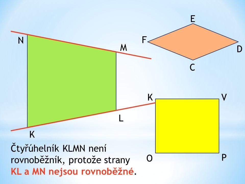 E N. F. M. D. C. K. V. L. K. Čtyřúhelník KLMN není rovnoběžník, protože strany KL a MN nejsou rovnoběžné.