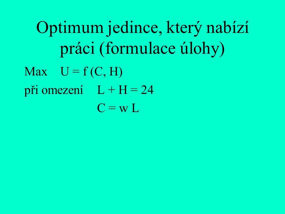 Optimum jedince, který nabízí práci (formulace úlohy)