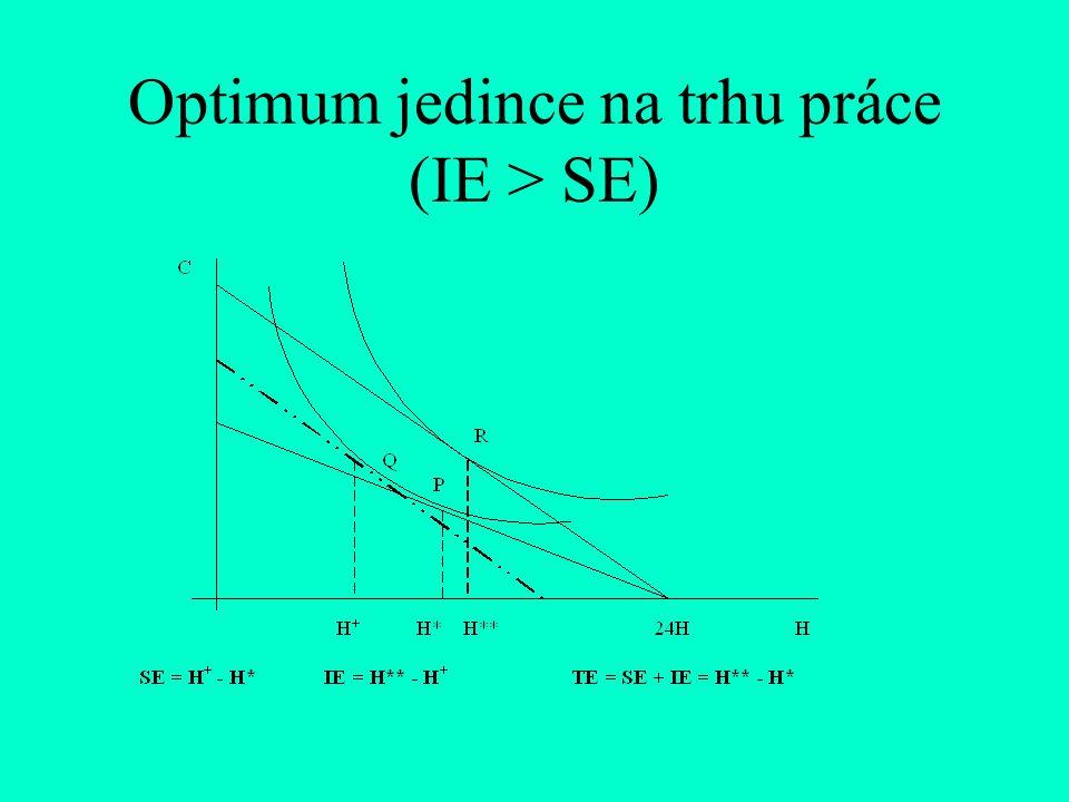 Optimum jedince na trhu práce (IE > SE)