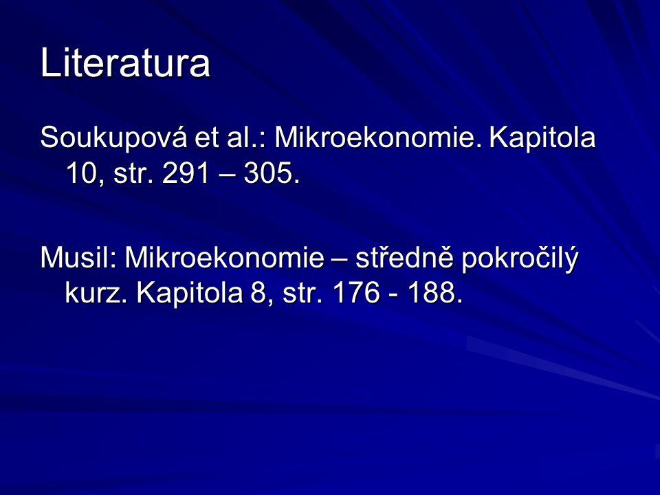Literatura Soukupová et al.: Mikroekonomie. Kapitola 10, str.
