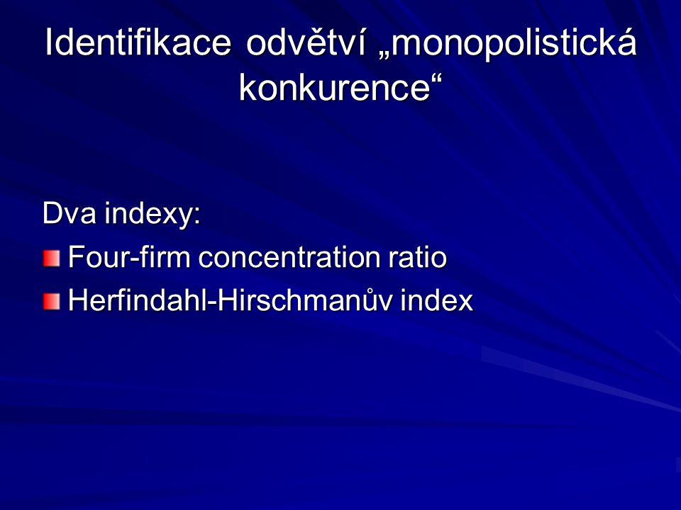 """Identifikace odvětví """"monopolistická konkurence"""