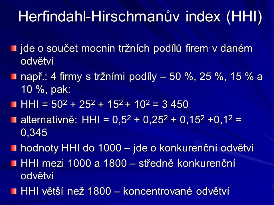 Herfindahl-Hirschmanův index (HHI)