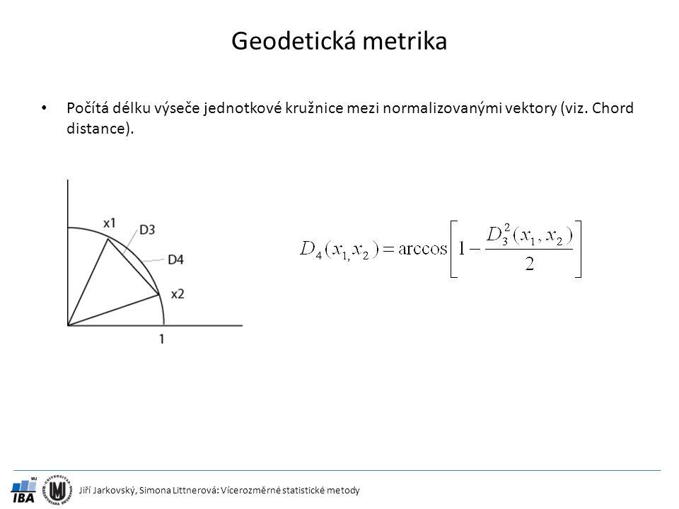 Geodetická metrika Počítá délku výseče jednotkové kružnice mezi normalizovanými vektory (viz.
