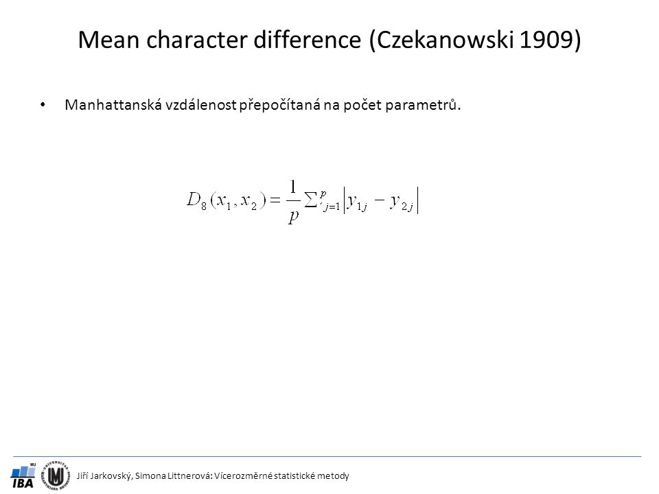 Mean character difference (Czekanowski 1909)