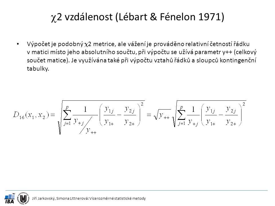2 vzdálenost (Lébart & Fénelon 1971)