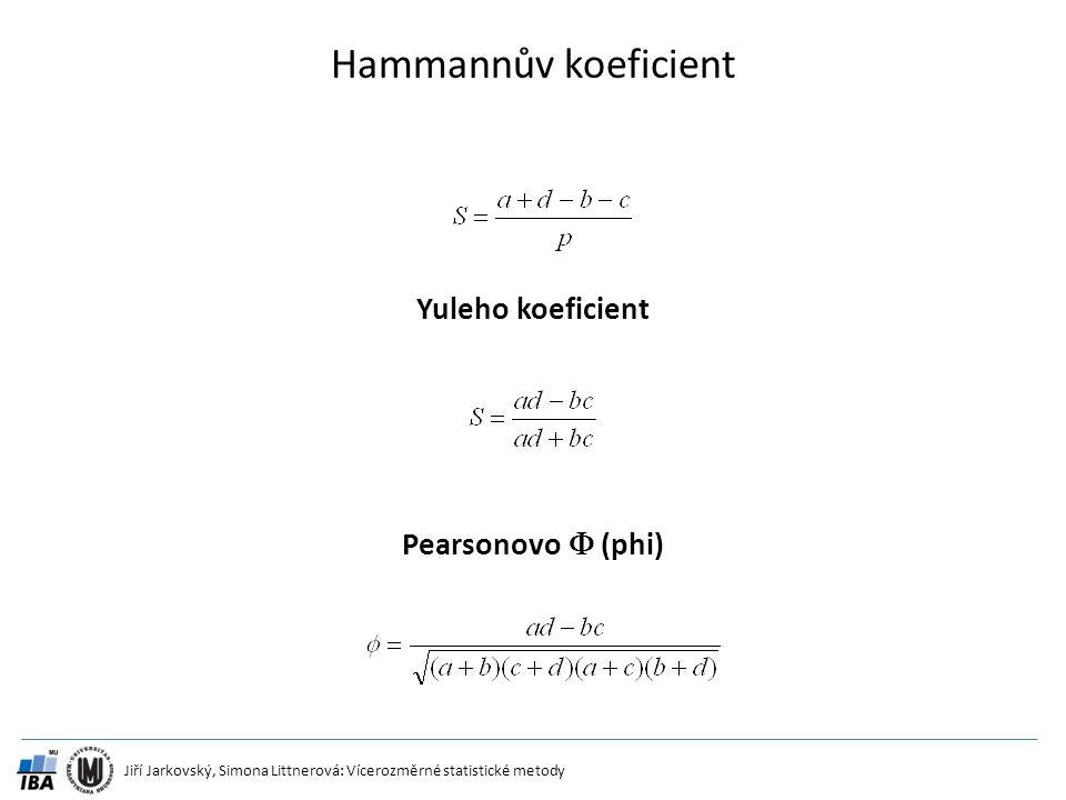 Hammannův koeficient Yuleho koeficient Pearsonovo  (phi)