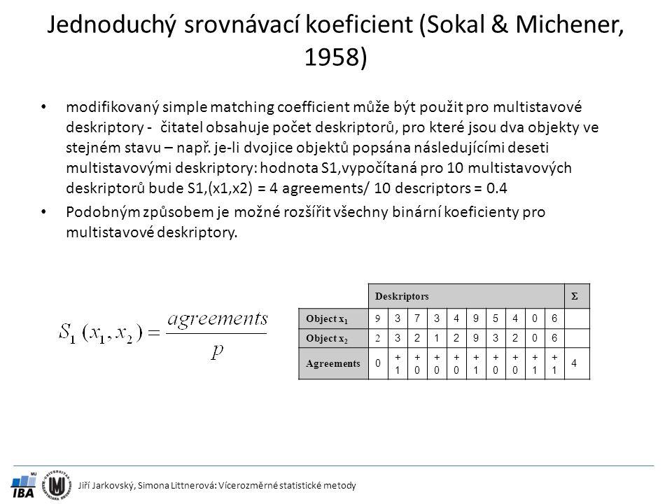 Jednoduchý srovnávací koeficient (Sokal & Michener, 1958)
