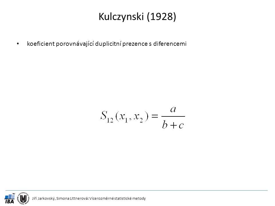 Kulczynski (1928) koeficient porovnávající duplicitní prezence s diferencemi