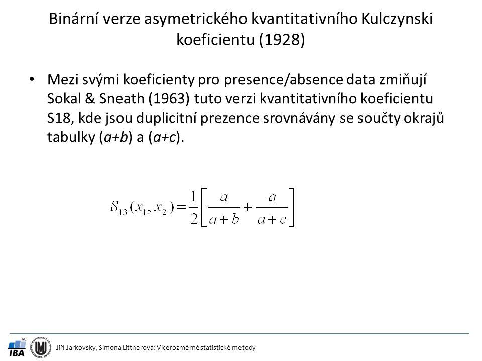 Binární verze asymetrického kvantitativního Kulczynski koeficientu (1928)