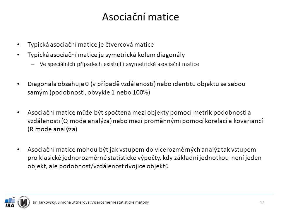 Asociační matice Typická asociační matice je čtvercová matice