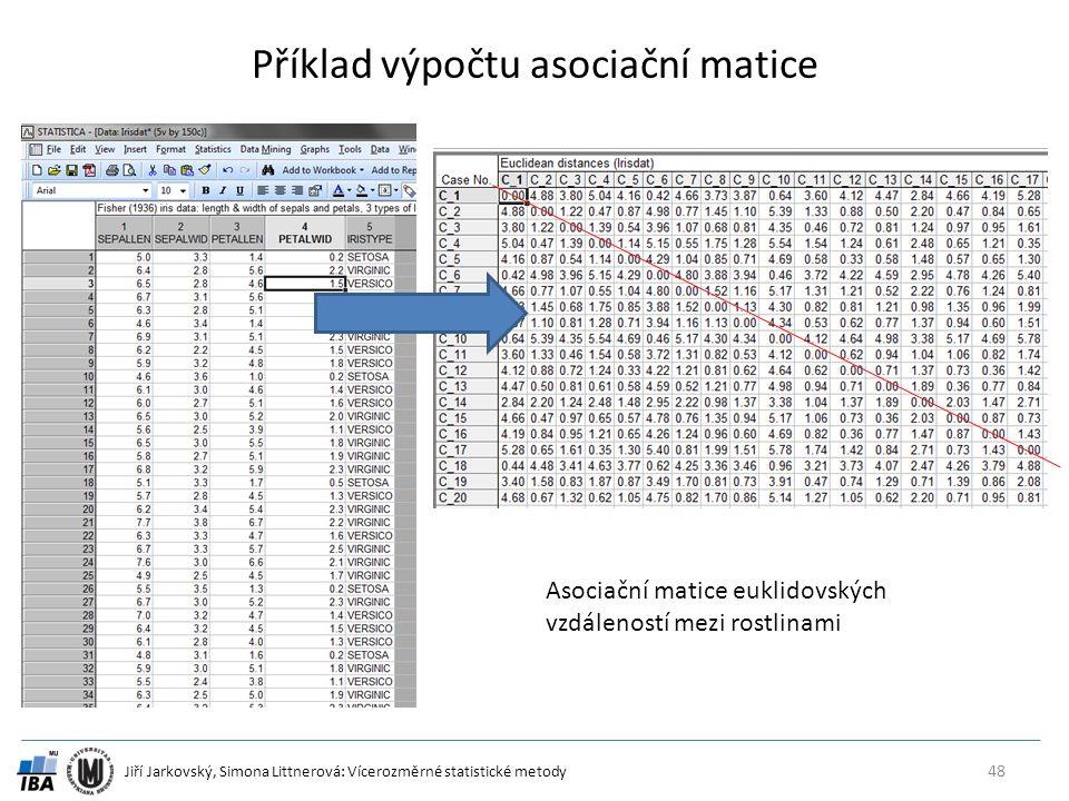 Příklad výpočtu asociační matice
