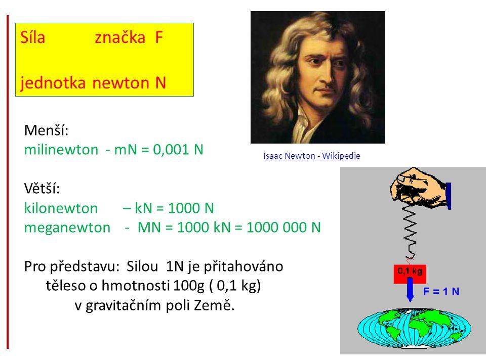 Síla značka F jednotka newton N Menší: milinewton - mN = 0,001 N
