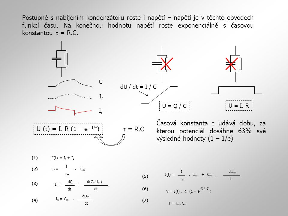 Postupně s nabíjením kondenzátoru roste i napětí – napětí je v těchto obvodech funkcí času. Na konečnou hodnotu napětí roste exponenciálně s časovou konstantou t = R.C.